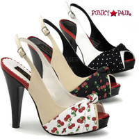 Bettie-09, 4.5 Inch High Heel Slingback Sandal with Pleated Knot Made By Pinup Couture