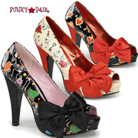 Bettie-13, 4.5 Inch High Heel with 1 Inch Platform Open Toe Pump with Large Satin Bow Made By Pinup Couture