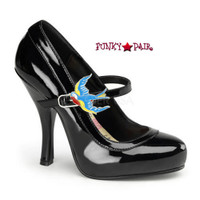 Cutiepie-11, 4.5 Inch High Heel Mary Jane Pump with Swallow Buckles Made By Pinup Couture