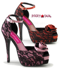 Bella-17, 5.25 Inch Heel Platform Ankle Strap with Rose Detail