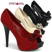 Lolita-10, 5 Inch Heel Peep Toe Pump with Ruffle Detail