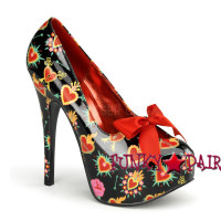 Teeze-12-2, 5.75 Inch High Heel with 1.75 Inch Platform with Satin Bow