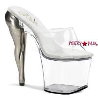 Vixen-701, 7.5 Inch High Heel with 3.5 Inch Platform Slide Sculpted Legs in Stocking Heel