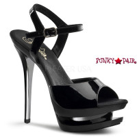Blondie-609, 6 Inch High Heel with 1.5 Inch Platform Black Ankle Strap Dual Sandal