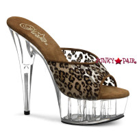 Delight-601M, 6 Inch High Heel with 1.75 inch Platform Slide with Leopard Print Mesh