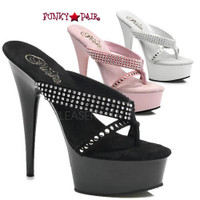 Delight-603-1, 6 Inch High Heel with 1.75 Inch Platform Thong Slide with Rhinestones