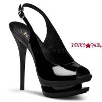 Blondie-654, 6 Inch High Heel with 1.5 Inch Dual Platform Slingback Dual Peep Toe Sandal