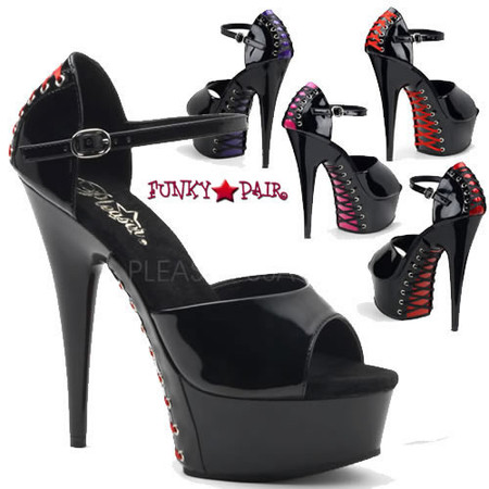 Delight-660FH, 6 Inch High Heel with 1.75 Inch Platform Closed Back and Corset Style Sandal