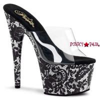 Motif-701LA, 7 inch high heel with 2.75 inch platform slide Lace Print
