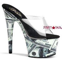 Motif-701MO, 7 inch high heel with 2.75 inch platform Slide with Money Print