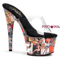 Motif-701PG, 7 inch high heel with 2.75 inch platform slide Pin Up Girl Prin