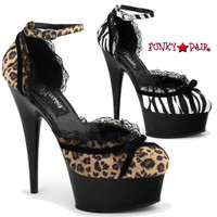 Delight-676AP, 6 inch High Heel with 1.75 Inch Platform Animal Print D'Orsay Style Platform Sandal