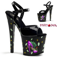 Motif-759GR, 7.5 inch high heel with 3.5 inch platform Girl's Ruin Print Ankle Strap Sandal