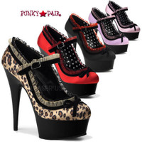 Delight-683, 6 inch high heel with 1.75 inch platform Satin Mary Jane Pump