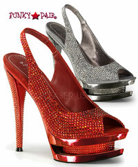 Fascinate-654DM, 6 Inch High Heel with 1.5 Inch Platform Peep Toe Slingback Sandal