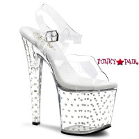 Stardust-758, 7.5 inch high heel with 3.5 inch platform Clear Ankle Strap Rhinestones Studded  Sandal