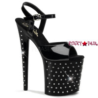 Stardust-809, 8 Inch High Heel with 4 Inch Platform Ankle Strap Rhinestones Studded Sandal