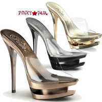 Blondie-601CH, 6 inch high heel with 1.5 inch platform slide Chrome Dual