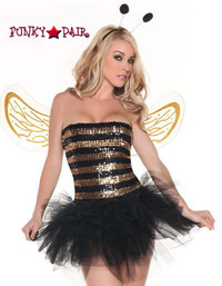 M0006, Sequins Bee costume includes a tube top, tutu, wings and headpiece