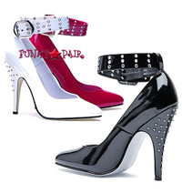 511-Anita, 5 Inch High Heel Pumps w/Ankle Buckle and Rhinestones