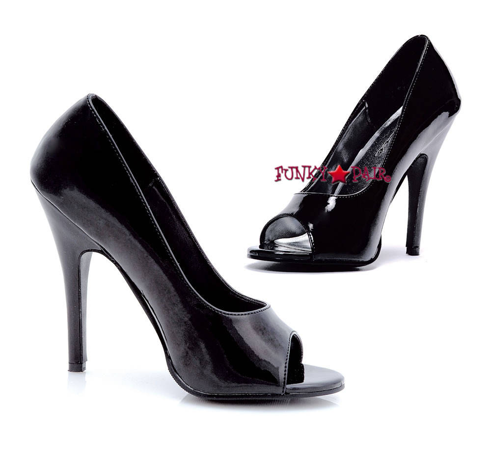 511-Bonnie, 5 Inch High Heel Black Open Toe Pump