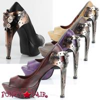 Titan, 5 Inch High Heel Custom Metal Steampunk Heel with Butterfly Gears with Peep Toe Pump * Titan