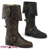 Carribean-299 * Men cuff knee high boot with octopus buckles and inner side zipper