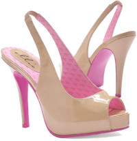 451-Maryellen, 4 Inch High Heel Nude Peep Toe Slingback Pump Made By ELLIE Shoes