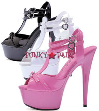 609-Charm, 6 Inch High Heel with 1.75 Inch Platform T-Straps with Heart buckles Made by ELLIE Shoes