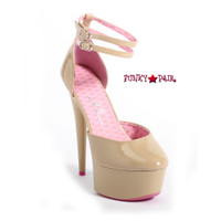 609-Curissa,  6 Inch High Heel with 1.75 Inch Platform Nude pump Made by ELLIE Shoes
