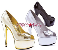 609-Shine, 6 Inch High Heel with 1.75 Inch Platform Peep Toe Pump Made by ELLIE Shoes