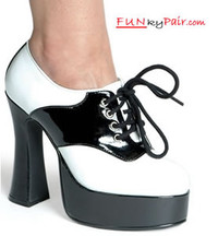 557-Saddle, 5 Inch High Heel with 3/4 Inch Platform Black/White Gangster Shoes Made by ELLIE Shoes