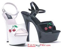 601-Cherry, 6 Inch High Heel with 1.75 Inch Platform with cherries print shoes Made by ELLIE Shoes