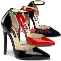 Sexy-21, 5 Inch High Heel Stiletto Heel Pointy Toe Ankle Strap D'orsay Pump
