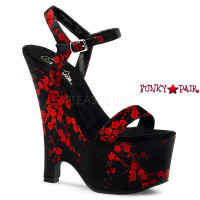 Beau-607CB, 6.5  Inch High Heel with 2.75 Inch Platform Ankle Strap Cherry Blossom Print Wedge