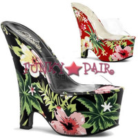 Beau-601FP, 6.5 Inch High Heel wtih 2.75 Inch Platform Flower Print Wedge Slide