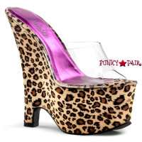 Beau-601LP, 6.5 Inch High Heel with 2.5 Inch Platform Leopard Print Wedge Slide