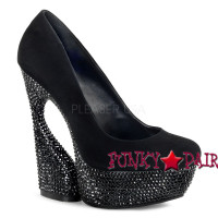 Swan-685, 6 Inch High Heel with 1.75 Inch Platform Sculptured Pump with Rhinestones