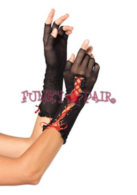 2129, Lace up Fingerless gloves