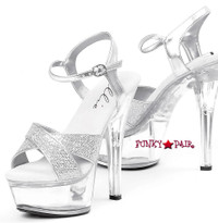601-Janie, 6 Inch High Heel with 1.75 Inch Platform Exotic Dancer Shoes w/Glitters Made by ELLIE Shoes