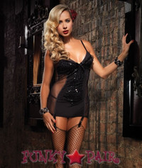 Mesh ruffle trimmed Garter Dress * 86503