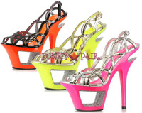604-ISLA, 6 Inch Stiletto High Heel with 1.75 Inch Cut out Platform Made by ELLIE Shoes