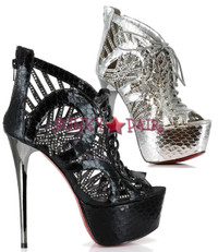 607-CECILIA, 6 Inch High Heel with 1.75 Inch Peep Toe Platform Sandal Made by ELLIE Shoes