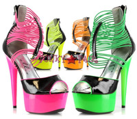 609-ADORE, 6 Inch Stiletto Heel Neon Platform Strappy Sandal Made by ELLIE Shoes