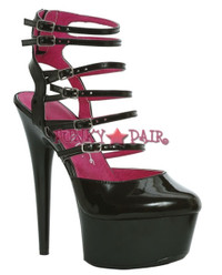 609-CALISTA, 6 Inch Stiletto High Heel with 1.75 Inch Platform Multi-Buckles Made by ELLIE Shoes