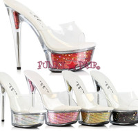 609-ESTRELLA, 6 Inch High Heel with 1.75 Inch Platform Glitter Shoes Made by ELLIE Shoes
