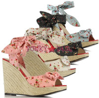BP471-MELISSA, 4 Inch High Heel Wedge with Strawberry and Dots Made By Bettie Page Shoes