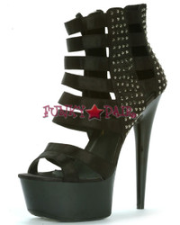 609-NOIR, 6 Inch Stiletto High Heel with 1.75 Inch Strappy Platform with Studs Made by ELLIE Shoes