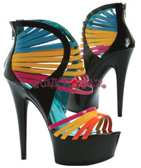 609-SUNKISS, 6 Inch Stiletto High Heel with 1.75 Inch Platform Multi color straps Made by ELLIE Shoes