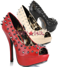 BP556-REGAN, 5 Inch High Heel with 1 Inch Platform Peep Toe with Spike